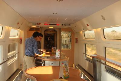 Buffet car on a train.