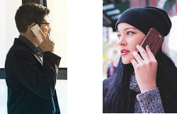 Man and woman calling each other
