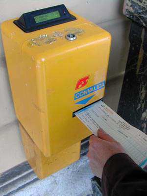 Stamp a train ticket