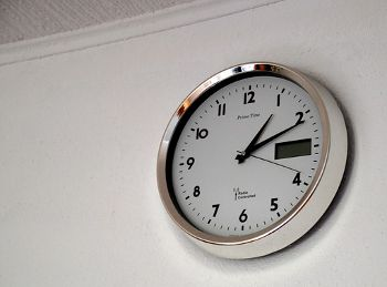 There is a clock on the wall