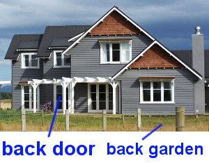 back door and back garden